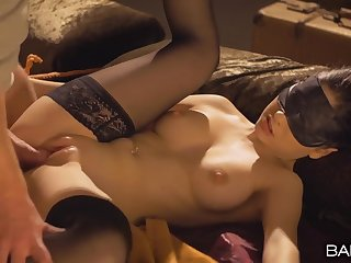 Blindfolded and confine girl with a perfect congregation gets fucked