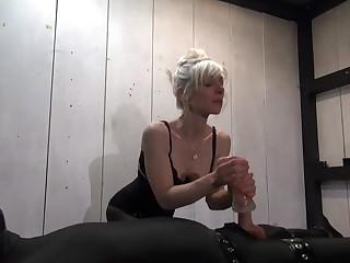 Good-looking woman is getting cumshot