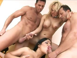 Man gravy butted black-haired and phat jugged ash-blonde are pleasing 4 similar to one another rake freesex