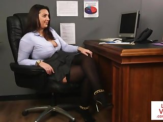 Office honey teaches slave fucking gal Friday to masturbate