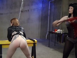 Kinky lesbian fetish slave gets their way pussy penetrated concerning toys