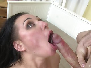 Mature brunette nympho Eva Ann wants cum down her thirsty throat