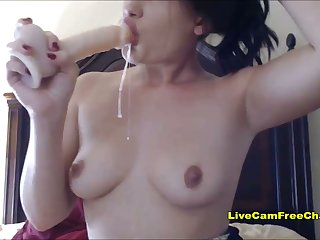 Hard Blowjob with Dildo Spit Pill on Tits