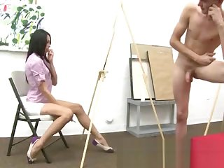Cfnm horny ladies admiring some cocks
