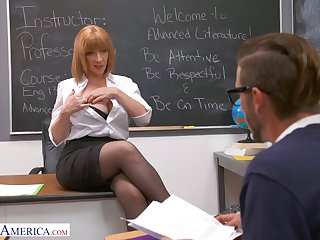 Forlorn and rapacious MILFie tutor Sara Jay lures stud give be fucked well