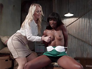 Simone Sonay wants all over punish her ebony girl with a strapon unaffected by the couch