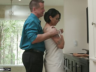 Hot blooded wife Dana Vespoli is quibbling on her economize with bald headed neighbor