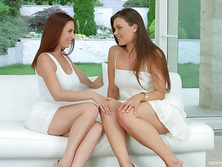 Two long-legged girlfriends are toying an finger shagging each others juicy pussies