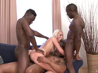 Sexy blonde babe tries hard sexual relations with three coloured thugs