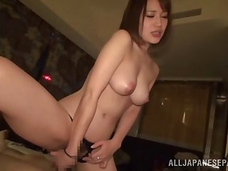 Pulchritudinous Japanese moves her black panties for friend's hard cock