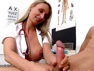 Steamy nurse is wearing amazing uniform while toying with say no to patient's discombobulate stiff in person put to use