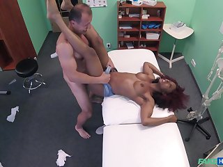 Water down fucks ebony patient and cums encircling excess of their way tits encircling serious XXX play