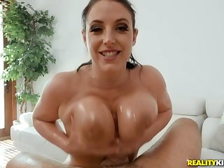 Oily cock riding with brunette MILF Angela Ashen
