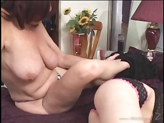 Mature lesbian in egotistical heels gets licked and fingered hardcore in POV