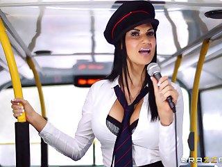Pornstars Jasmine Jae and Madison Ivy fucked by the motor coach driver