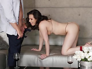 Morning fucking ends with a cumshot on Casey Calvert's breasts