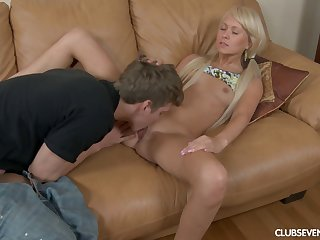 Close up video of skinny blonde Vikki B having making love on be imparted to murder sofa