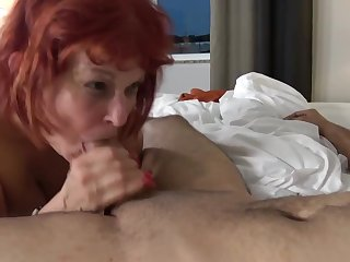 Red haired, American mature champaign stockings likes to have casual coition with younger guys