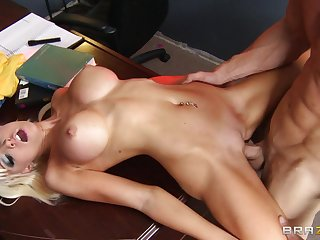 Fit blonde Rikki Six spreads her long legs for her randy boss