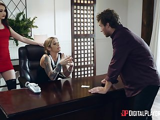 Handsome lady boss Kleio Valentien fucked on the office provisions