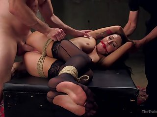 Restless anal in bondage extreme respecting two dominant males