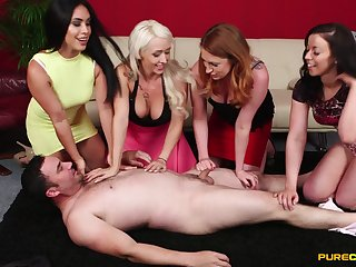 Guy gets undressed and pleasured by decayed Christina Shine and friends
