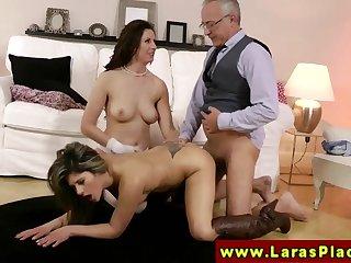 LARAS PLAYGROUND - Classy mature slut sharing a dick