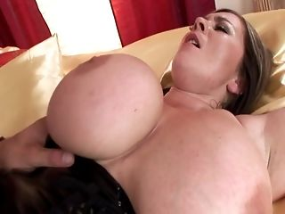 Plump black-haired with hefty boobies hops on a rigid boner pornvideo