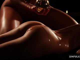 Amazing babes Katy Rose & Leanne Lace are setting up honour after oil erotic massage