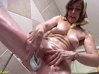 Granny Masturbating After Cuckold Fucking