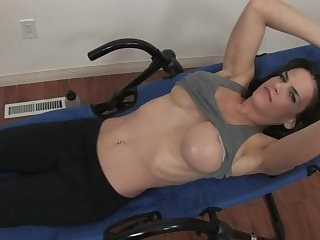 Solo model plays involving the brush personate boobs with the addition of shaved fuck hole