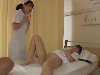 Quickie FFM triad on touching yoke sexy Japanese nurses in uniforms