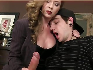 Bossy Domina T jerking jism beside fetish spandex gloves