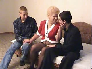 Granny fucking two fellas feeling extra cum-craving today
