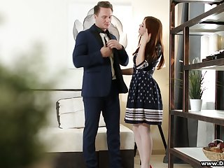 Pretty hot red haired student Renata Fox gets her slit banged for money