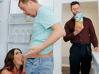 Wife's big tits seduced nanny on touching fuck hardcore